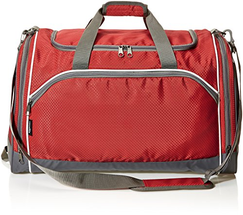 5189JBSjZjL - AmazonBasics Small Lightweight Durable Sports Duffel Gym and Overnight Travel Bag - Red