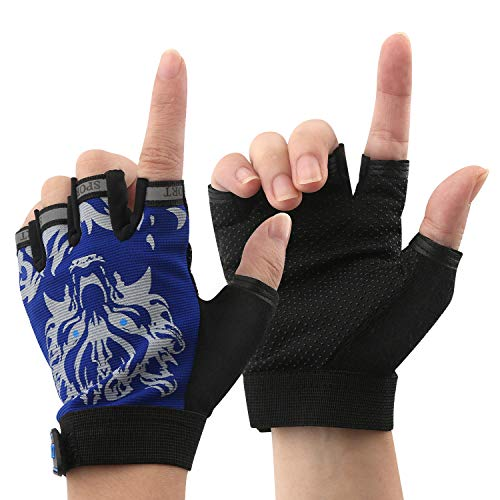 NATURE Ann Boy Girl Kid Child Children Half Finger Fingerless Short Shock-Absorbing No-Slip Pro Cycling Gloves Mitten for Cycling MTB Exercise Skate Skateboard Roller Skating Other Sports (Blue Wolf)