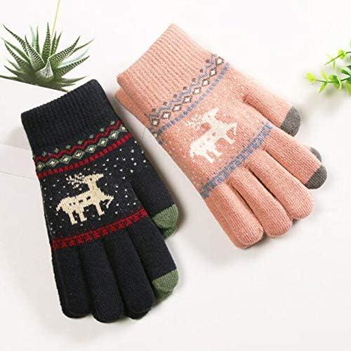 学生の女性の秋と冬、滑り止めタッチスクリーン、ニットウールの鹿柄の寒さとベルベットの肥厚、暖かい乗馬に使用