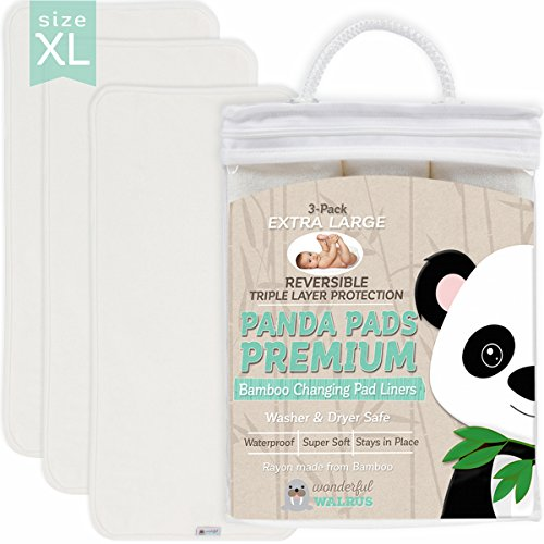 PANDA PADS PREMIUM X-LARGE REVERSIBLE 3-PACK Bamboo Changing Pad Liners. NO-SLIP 3-Layer Design. Ultra Soft & Absorbent - Waterproof - Machine Wash & Dry, Antibacterial & Hypoallergenic. Great (Lap Pad Set)