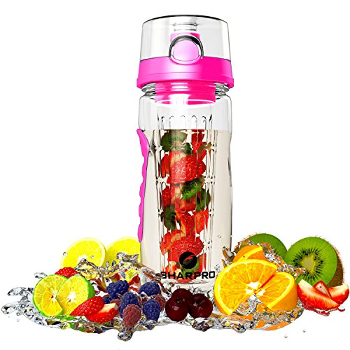 sharpro 32 oz. Infuser Water Bottles - Featuring a Full Length Infusion Rod, Flip Top Lid, Dual Hand Grips (Pink Fruit Water Bottle)