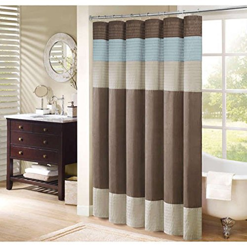 - Madison Park Trinity Polyester Faux Silk Stripes Shower Curtain,