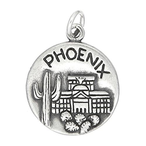 Sterling Silver Oxidized Double Sided Phoenix Arizona Charm Sterling Silver Arizona State Charm