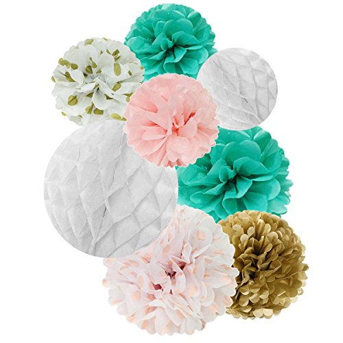 Wrapables Set of 32 Tissue Honeycomb Ball and Pom Pom Party Decorations for Weddings, Birthday Parties Baby Showers and Nursery Decor, Aqua/ Light Pink/ Gold/ White Aqua Disco Dot