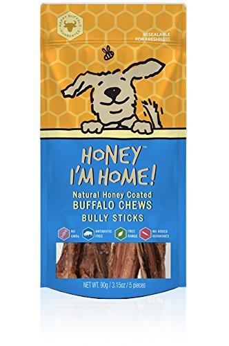 Honey Im Home All Natural  Honey Coated Buffalo Bully Sticks For Dogs