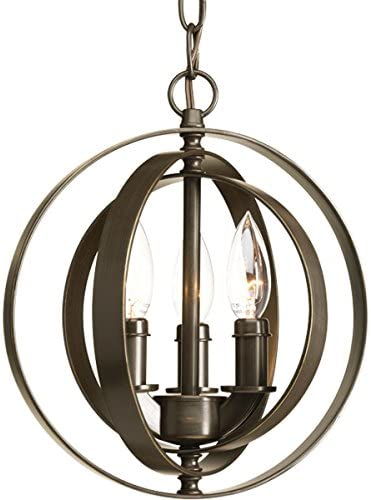 Progress Lighting P5142-20 Transitional Three Light Pendant from Equinox Collection Dark Finish, Antique Bronze