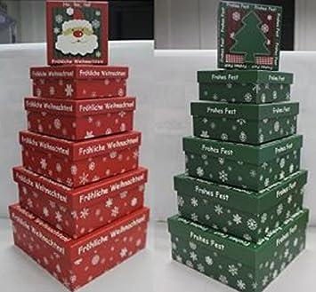 Unbekannt 12 Stk Regalo Cajas Cartón latas Motivos navideños (2 x 6 Stk Rojo Blanco Verde Papá Noel Regalos empaquetar Xmas Cajas de Regalo Regalo del ...