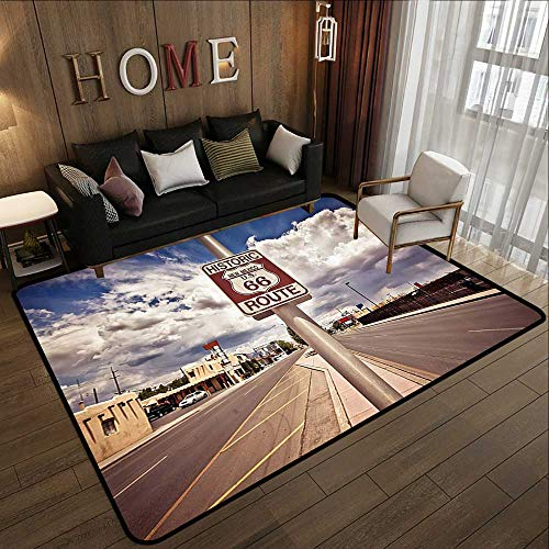 Bathroom mats and Rugs,Americana Decor Collection,Historic New Mexico US 66 Route Sign Roadway and Driving Roadside Nostalgic Scenery Picture,B 71