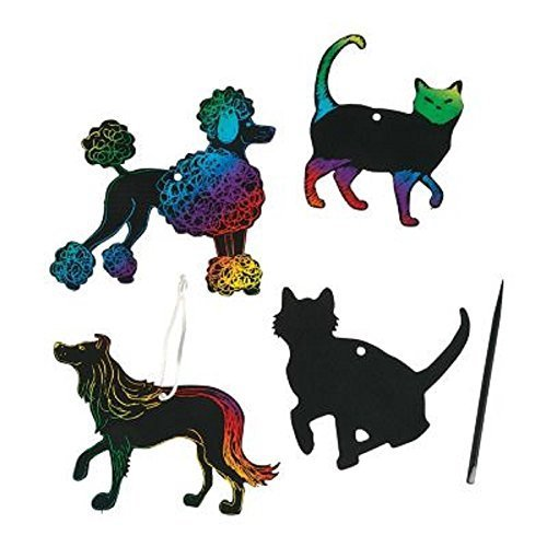 Magic Color Scratch Cats and Dogs ~ Includes 24 Shapes / 12 Scratching Tools / 24 Satin Cords ~ Approx. 3 1/2
