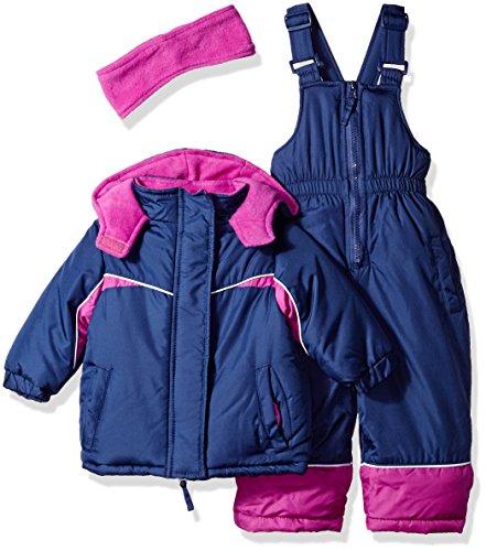 Pink Platinum Baby Girls Colorblocked Snowsuit, Navy Colorblock, 24M - Suit Snowsuit