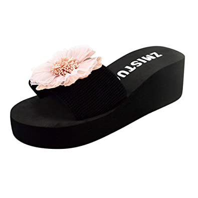 8d7470eec LIKESIDE Women s Day Gift Ladies Summer Flower Home Wedges Beach Shoes  Sandals Flip Flops Slippers Classic