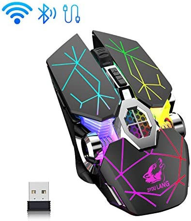 Wireless Bluetooth Gaming Mouse Rechargeable7 Button Rainbow RGB Multi Color Breathing Backlit 3 Adjustable DPI Ergonomic Grip Slient Click Power Saving Mode for PC Mac Gamer Officer(StarBlack)