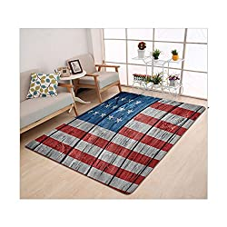 Kisscase Custom carpet USA Flag Decor Independence Day of National Celebration and Retro Worn Wooden Looking Flag Pattern Kids Room Accessories Blue Red