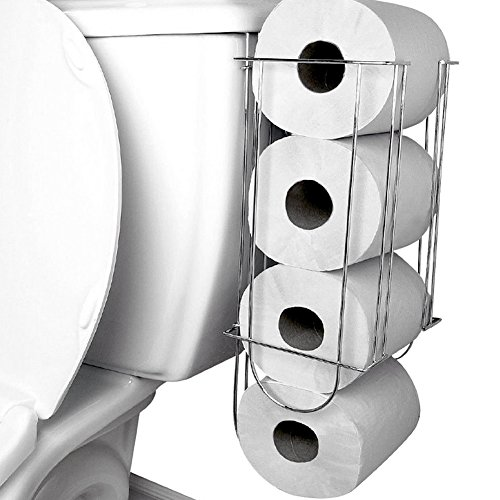 Evelots Side-Of-Tank Toilet Paper Holder Convenient Storage