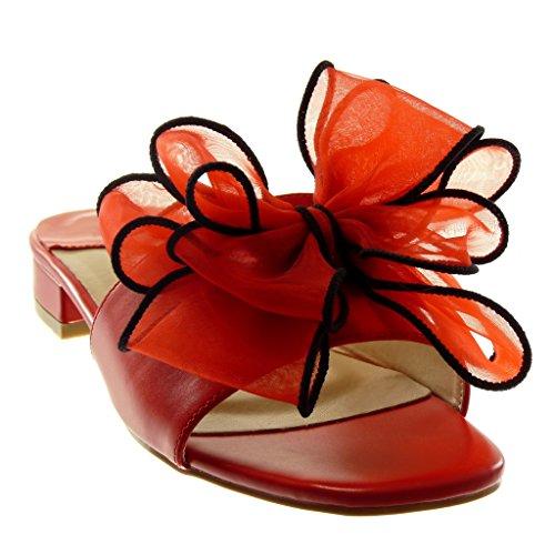 Scarpe Moda Blocco On 4 Slip Sandali tulle Mules cm Angkorly Rosso Nodo a Donna Tacco Alto T5xqdn