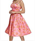 YeeATZ Pin-up Digital Floral Swing Vintage Dress(Pink,M)