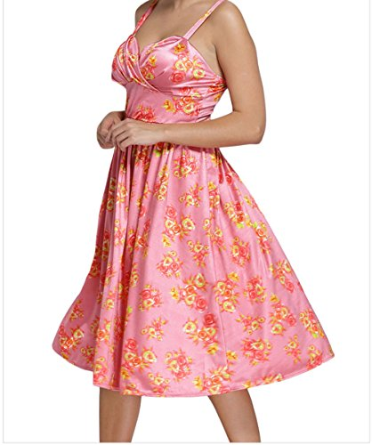 YeeATZ Pin-up Digital Floral Swing Vintage Dress(Pink,S)