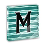 Letter M Initial Black Teal Stripes Acrylic Office Mini Desk Plaque Ornament Paperweight