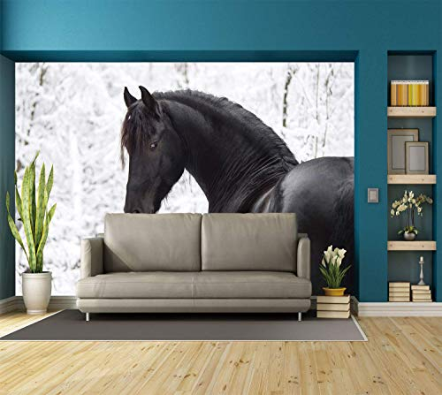 Funky Wall Mural Sticker [ Equestrian Decor,Black Friesian Sport Horse Portrait on Snowy Winter Background Novelty Picture,White ] Self-adhesive Vinyl Wallpaper / Removable Modern Decorating Wall Art]()