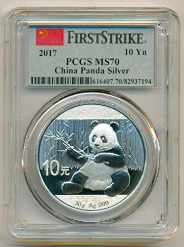 (2017 CN China - 1 Ounce Silver Panda 10 Yuan MS70 First Strike PCGS)