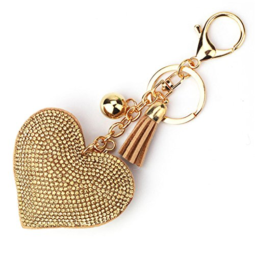Heart Khaki CanViUK Bag Pendant Tassel Gold diamond Golden Rhinestone black white Heart Keychain dqr7w1rn