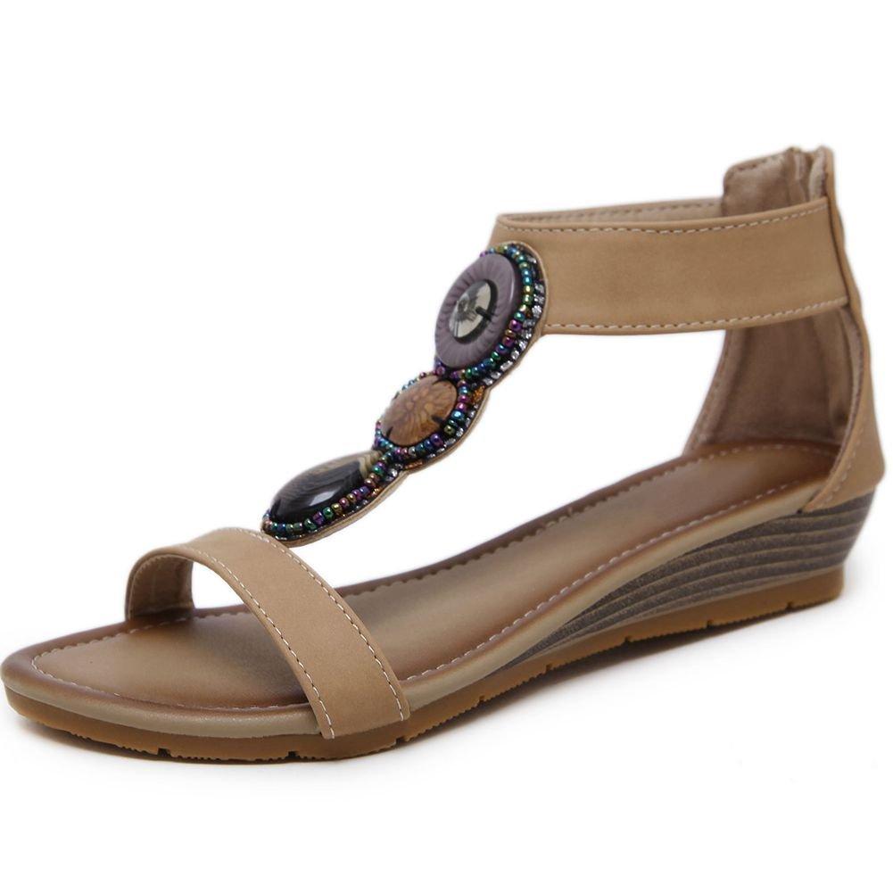 KingRover Women's Thong Wedge Heel Zip Sandals T-Strap Bohemian Rhinestone Slip On Flip Flops Shoes B07BNJTS3T 9 B(M) US 4beige