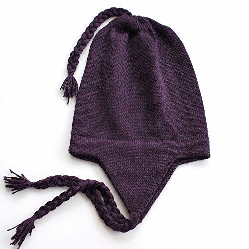 - The Alpaca Collection, 100% Alpaca Wool Chullo Beanie Hat Purple One Size