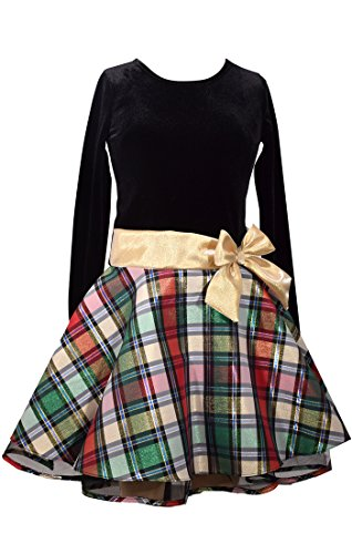 Bonnie Jean Big Girls' Hipster Dresses, Gold/Black Plaid (Red, 10) Bonnie Jean Plaid