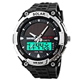 Fanmis Men's Solar Powered Quartz Digital & Analog Multifunctional Waterproof Sports Watch Silver