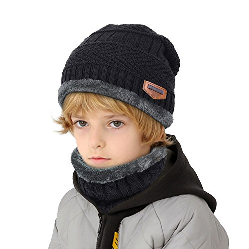 muco Kids Winter Hat Warm Thick Beanie Cap Scarf For Boys Girls Knit Outdoors Ski Beanies by muco