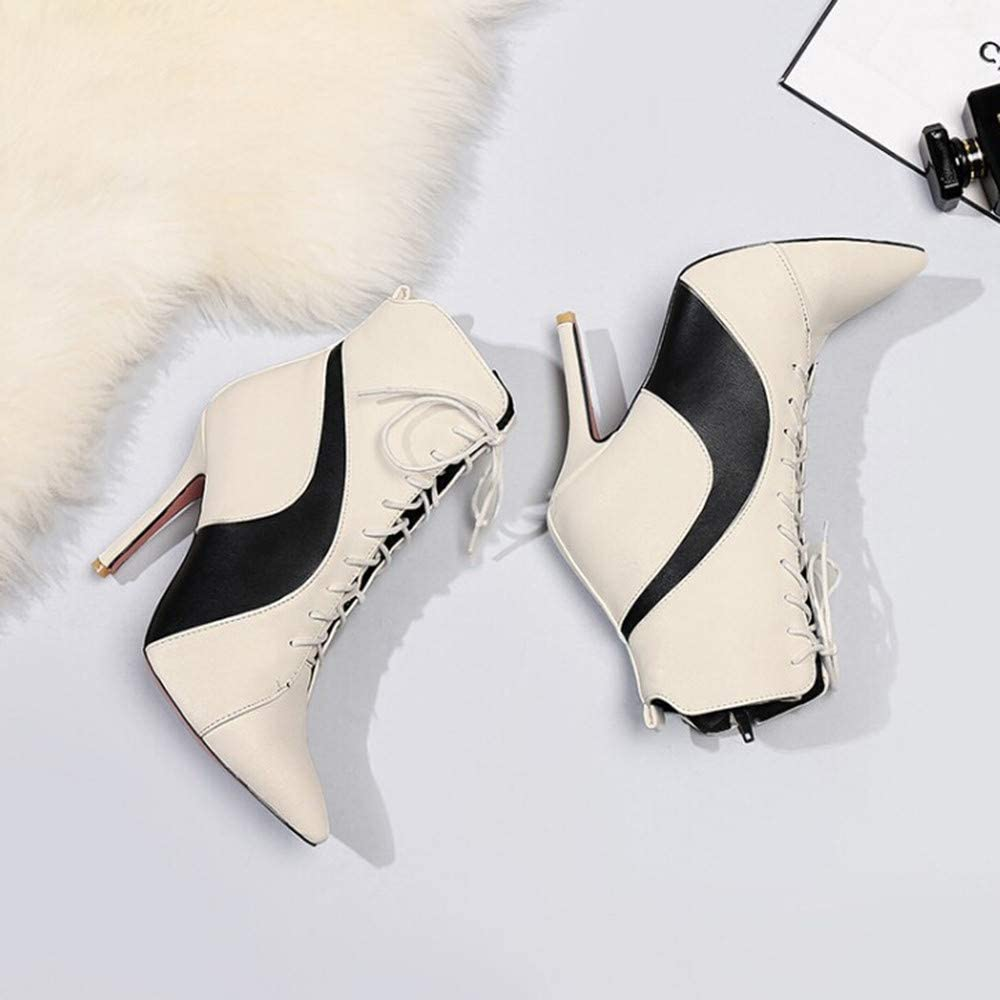 Hunzed Women Shoes Christmas Stiletto Pointed high-Heeled with high-Heeled Ankle Boots