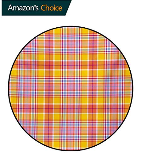 (RUGSMAT Abstract Super Soft Circle Rugs for Girls,Madras Style Tartan Motif with Vivid Tone Bands Celtic Old Design Baby Room Decor Round Carpets,Round-55 Inch Marigold Pink Earth Yellow)