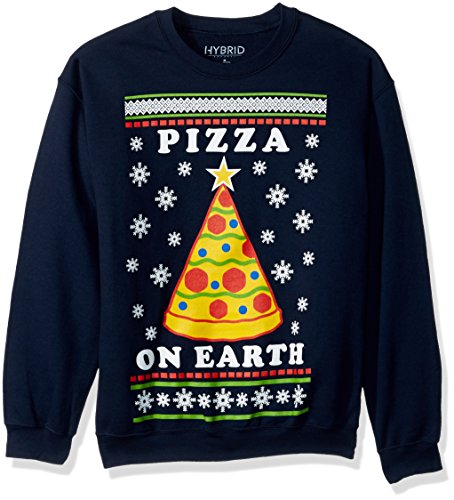Hybrid Men's Pizza On Earth Holiday Pullover, Blue, L