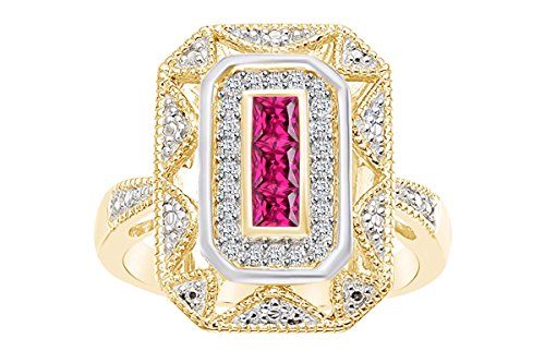 Yellow Gold Over Sterling Silver Created Ruby and White Natural Diamond Accents Art Deco - Style Ring Ring Size-10 ()