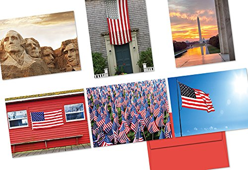 - 72 Note Cards - Patriotic Scenery - 6 Designs - Blank Cards - Red Envelopes Included