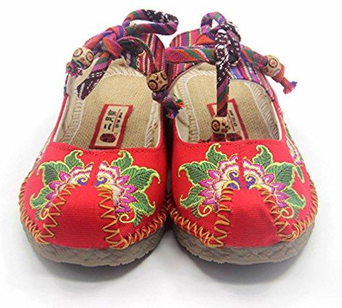 Soojun Dames Chinese Stijl Oxfords Enige Aladdin Walking Slipper Rood