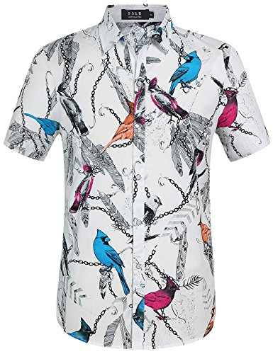 SSLR Men's Bird Straight Fit Button Down Short - Animal Print Mens Shirts