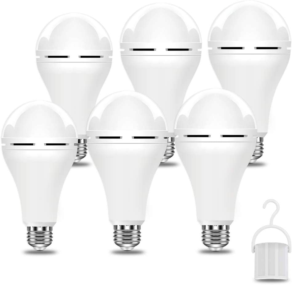 A21 6PK Emergency-Rechargeable-Light-Bulbs, Keep Lighting During Power Outage, 12W 6500K LED 65W Equivalent Light Bulbs, 1200 mAh Battery Backup Light Bulbs for Home Power Failure