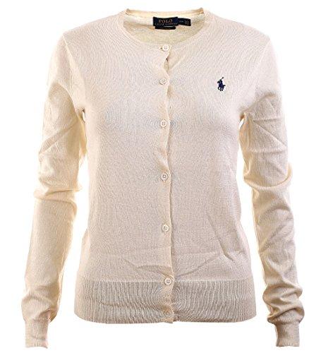 Polo Ralph Lauren Womens Pima Cotton Crew Neck Cardigan (Small, Andover Cream)