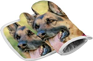 Tamengi German Shepard Oven Mitt and Pot Holder Set, Heat Resistant Oven Mitts Non Slip Pot Holders, Kitchen Microwave Gloves for Baking Cooking Grilling BBQ