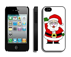 Case For Iphone 5/5S Cover,Glasses Christmas Santa Claus Silicone Black Case For Iphone 5/5S Cover