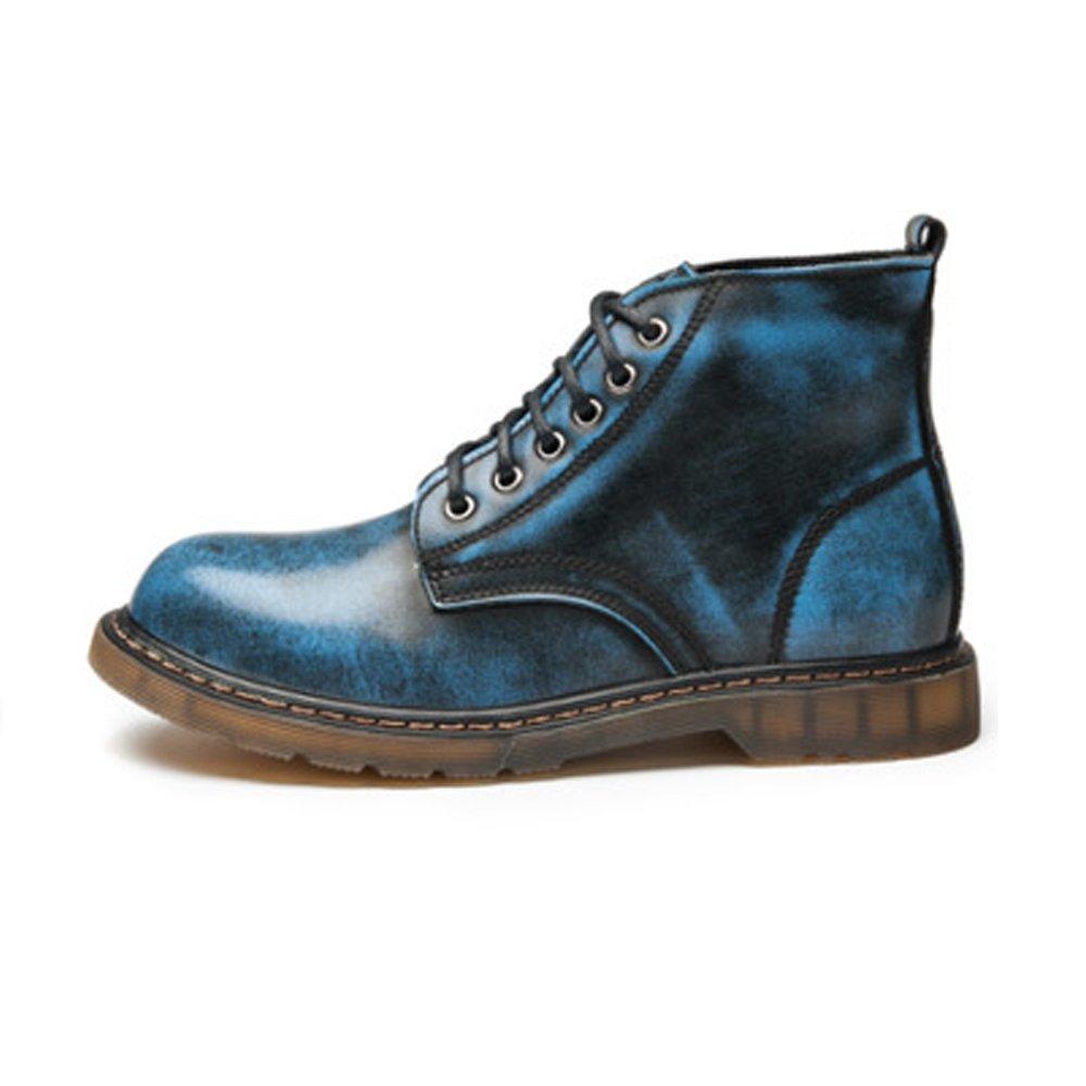 Lederschuhe Herrenschuhe Klassische Leder Schnürschuhe Oxfords High Top Ankle Boots Blue