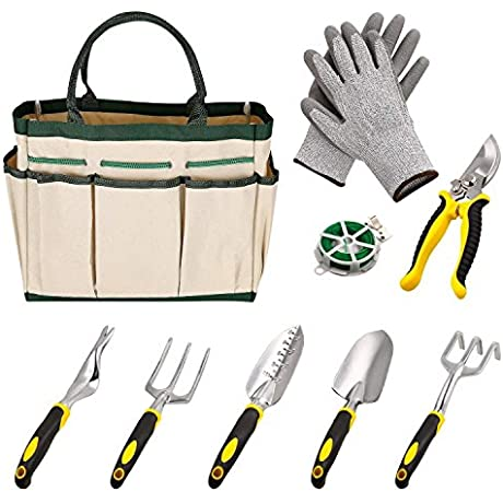 9 Pieces Gardening Tool Kit 6 Gardening Hand Tools And A Garden Tote A Plant Rope Soft Gloves