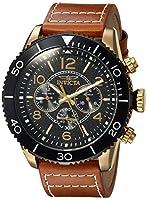 Invicta Men's Aviator Quartz Watch with Leather Calfskin Strap, Orange, 29 (Model: 24553)
