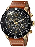 Invicta Men's 'Aviator' Quartz Gold-Tone and Leather Casual Watch, Color:Orange (Model: 24553)