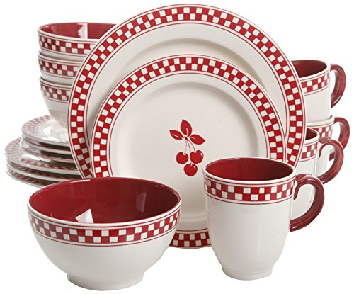 General Store by Gibson 16 Piece Cherry Diner Handpainted Durastone Dinnerware Set, Red 5189OHwljTL