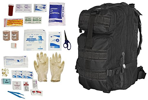Ultimate Arms Gear Level 3 Assault MOLLE Black Backpack Kit + First Aid Trauma Fully Stocked Kit Contents Come In Polybag, USA MADE by Ultimate Arms Gear
