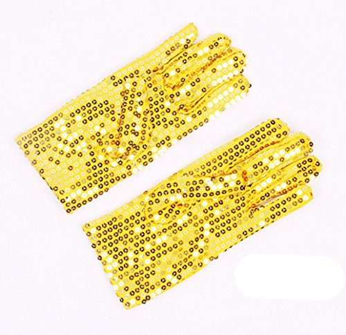 [FinalZ 1 Pair Child Costume Dress up Dance Sequin Cosplay Party Halloween Gloves Age (Yellow)] (Childrens Michael Jackson Costumes)