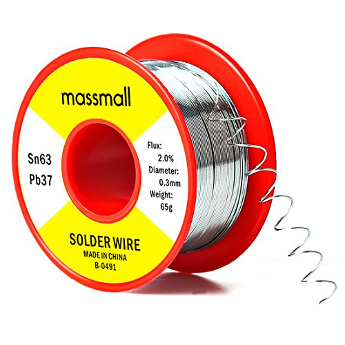 massmall Sn63 Pb37 Tin Lead Rosin Core Solder Wire for Electrical Solderding 0.0119inches(0.3mm)0.143 lbs(65g)