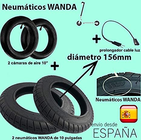 androgeek Pack 2 Neumáticos Wanda de 10 (156mm) +2 cámaras de 10` + prolongador Cable de luz parapatinete Xiaomi Mijia M365 / M365 Pro